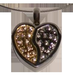 RVS assieraad Hart kristallen hart goud/zilver herdenkings hanger