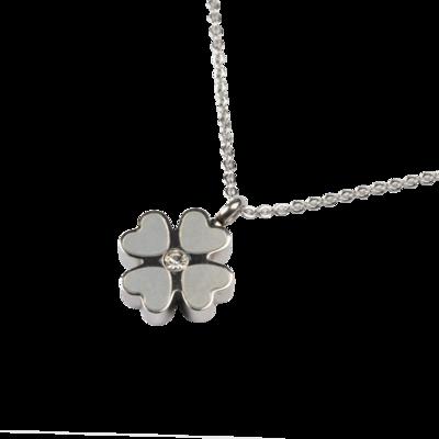 RVS assieraad Klaver 4 zilver design herdenkings hanger