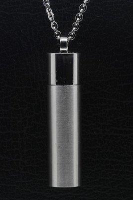 RVS As & Herdenking Koker mat-glans groot ketting hanger
