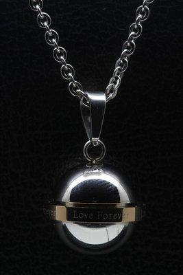 RVS As & Herdenking Bol draaiende ring love forever ketting hanger