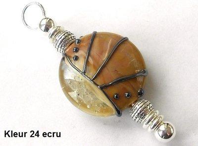 Zilveren Lentil As-in-glas herdenkings hanger - éénzijdig - 19 mm