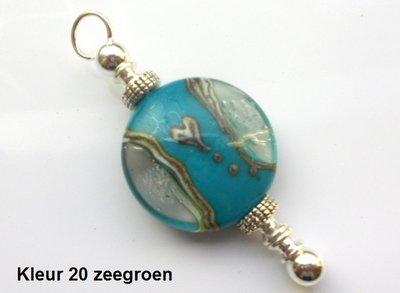 Zilveren Lentil As-in-glas herdenkings hanger - tweezijdig - 19 mm