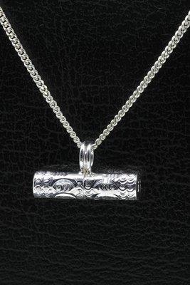 Zilveren Herdenksieraad schuifkoker hanger
