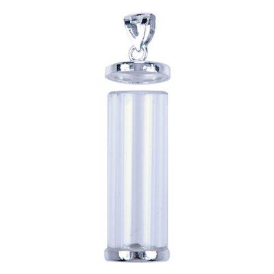 Zilveren Herdenksieraad hanger - glazen buis