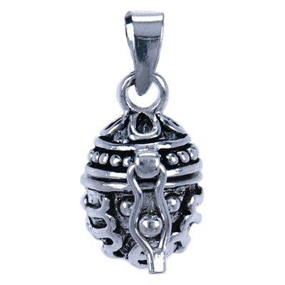 Zilveren Gedenksieraad eivorm ketting hanger