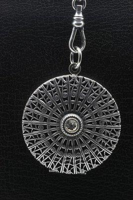 Foto medaillon Rond met Swarovski kristal 2 foto's ketting hanger zwaar verzilverd
