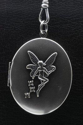 Foto medaillon Ovaal met Engel 2 foto's ketting hanger zwaar verzilverd