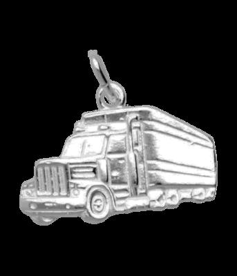 Zilveren Vrachtwagen ketting hanger - groot