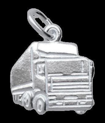 Zilveren Vrachtwagen ketting hanger - klein
