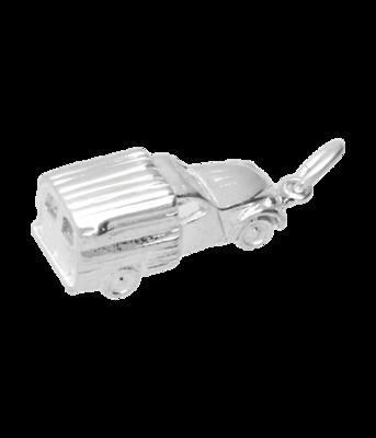 Zilveren Citroën 2CV Lelijk eend bestelauto 3D ketting hanger