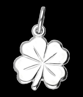 Zilveren Klaverblad ketting hanger - groot