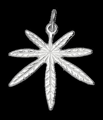 Zilveren Hennepblad wiet ketting hanger - groot 2
