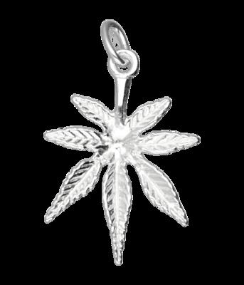 Zilveren Hennepblad wiet ketting hanger - middel
