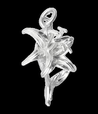 Zilveren Lelie ketting hanger