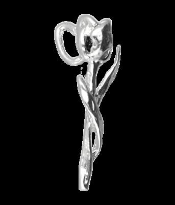 Zilveren Tulpje ketting hanger