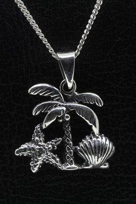 Zilveren Palmboom aan strand ketting hanger