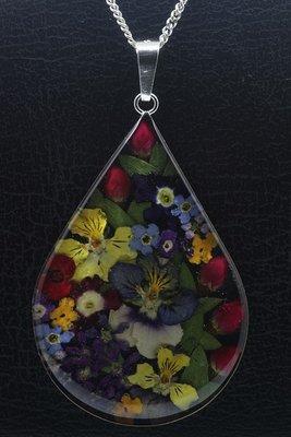 Zilveren Flowermix druppel groot ketting hanger