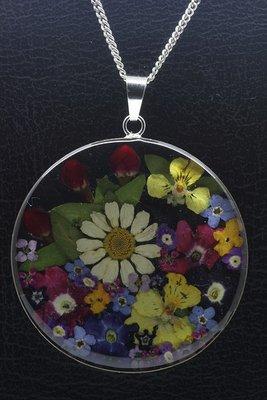 Zilveren Flowermix rond groot ketting hanger