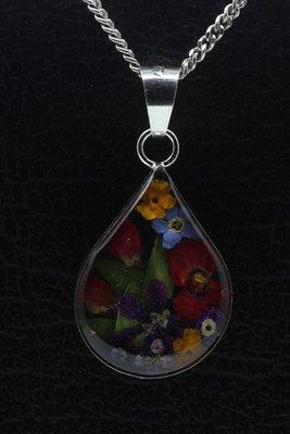 Zilveren Flowermix druppel 25 mm ketting hanger