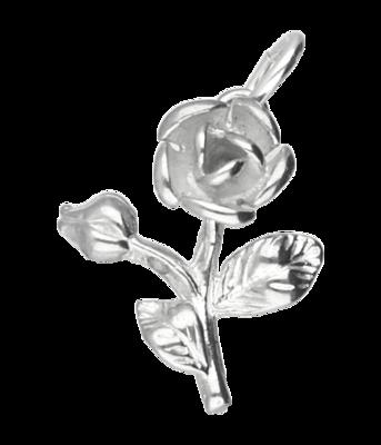 Zilveren Roos met tak ketting hanger