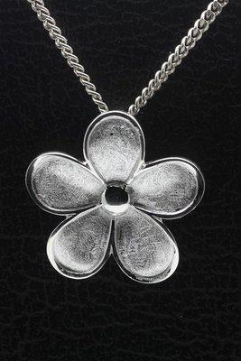 Zilveren Bloem mat-glans ketting hanger