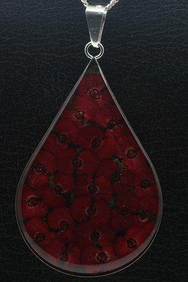 Zilveren Passiebloem druppel groot ketting hanger