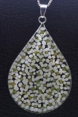 Zilveren Sneeuwkleed druppel groot ketting hanger