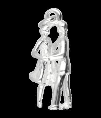 Zilveren Ballroom danspaar ketting hanger