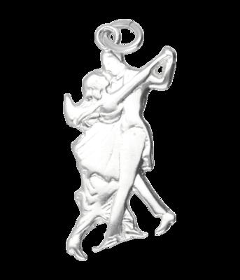 Zilveren Danspaar 60's ketting hanger