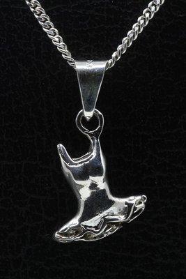 Zilveren Ballet jurk ketting hanger