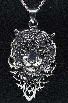 Zilveren Tijgerkop gothic gezwart ketting hanger