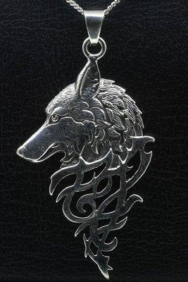 Zilveren Wolf gothic gezwart ketting hanger