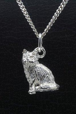Zilveren Angora kat zittend groot ketting hanger