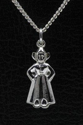 Zilveren Boerin ketting hanger