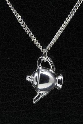 Zilveren Theepot ketting hanger