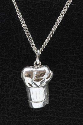 Zilveren Koksmuts middel ketting hanger