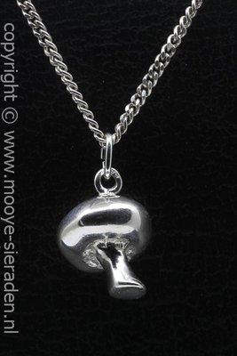 Zilveren Champignon ketting hanger