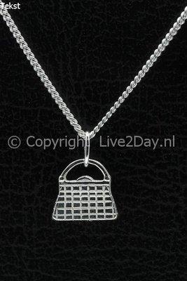Zilveren Tas ketting hanger