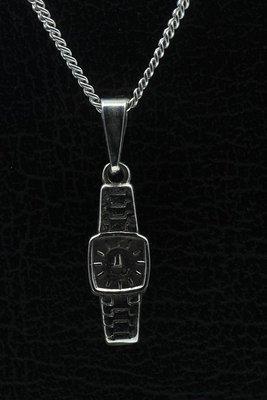 Zilveren Horloge ketting hanger