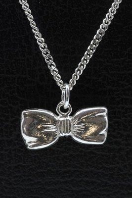 Zilveren Vlinderdas - Strik ketting hanger