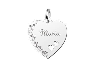 Zilveren graveerplaatje Hart met 2 hartjes en bloemenrand ketting hanger