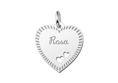 Zilveren graveerplaatje Hart met 2 hartjes en rand ketting hanger