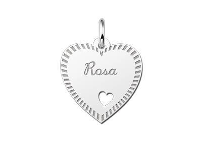 Zilveren graveerplaatje Hart met hartje en rand ketting hanger