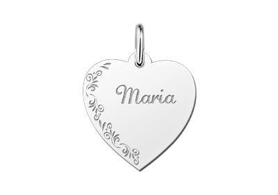 Zilveren graveerplaatje Hart met bloemrand ketting hanger