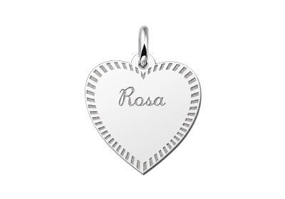 Zilveren graveerplaatje Hart met rand ketting hanger
