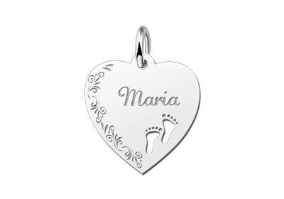 Zilveren graveerplaatje Hart met voetjes en bloemenrand ketting hanger