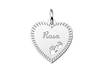 Zilveren graveerplaatje Hart met handjes en rand ketting hanger