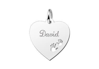 Zilveren graveerplaatje Hart met handjes ketting hanger