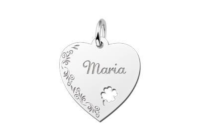 Zilveren graveerplaatje Hart met klaver 4 en bloemenrand ketting hanger