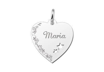 Zilveren graveerplaatje Hart met sterren en bloemenrand ketting hanger